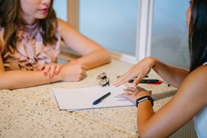 Brentwood teen girls therapy - teen and woman talking